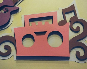 12 vintage boombox die-cuts, diy, cupcake toppers, tags, party decor, banners, baby girl, baby boy, baby shower, birthday, embellish