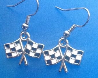 Double checkered flag dangle earrings auto racing jewelry