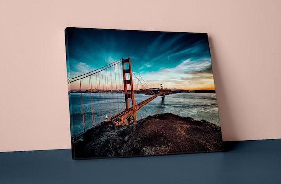 Golden Gate Bridge Print v5 Mirror Wrapped Canvas