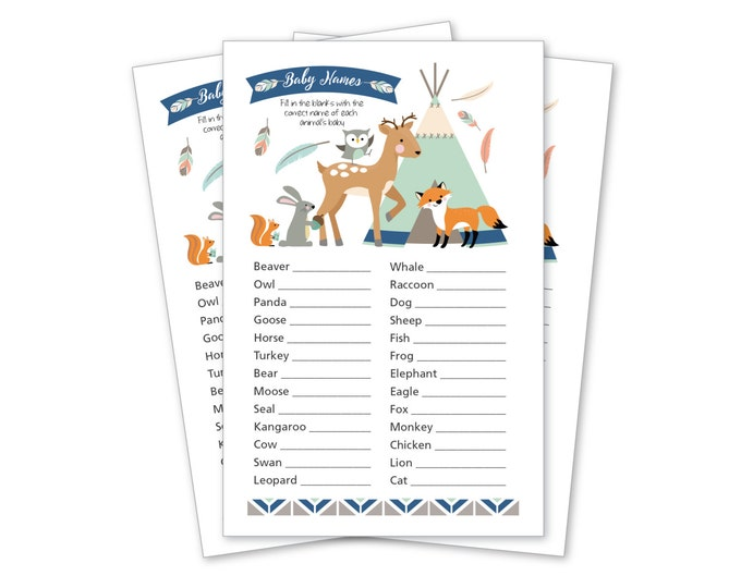 Baby Shower Game, Animal Baby Names, Tepee Woodland Shower Party Game, Tepee, feathers, arrows, tribal inspired