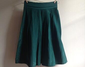 Vintage Forest Green Silk Taffeta Skirt (S)