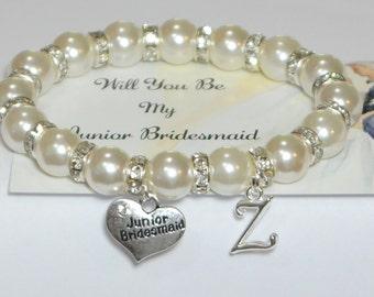 my junior bridesmaid  - ask jr bridesmaid - personalized wedding - bridal party gift - bridesmaid bracelet - handmade bracelet