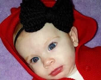 Crocheted Baby Bow Elastic Headband