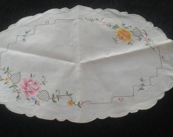 vintage hand embroidered doily