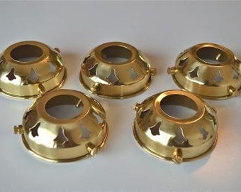 A set of 5 classic antique style brass 2 1/4 inch glass light shade galleries NR2