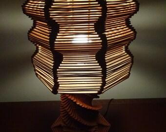 Large Unique Vintage Folk Art Popsicle Stick Lamp - FREE SHIPPING