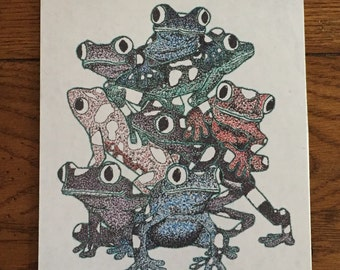 "Pointillism Artwork, 9 7/8"" x 7 7/8"" x 1/8"" Rainforest Frogs Print, Multi Color"