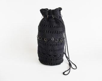70s • Vintage • Crochet Bag • Black Crochet Bag • Hippie Bag • Hippie Crochet Bag • Black Handbag • Black Purse • Black Crochet Pouch • mod