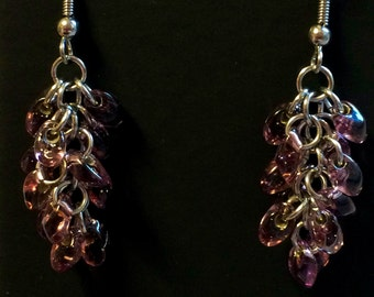 Smokey Amethyst chainmaille beaded earrings