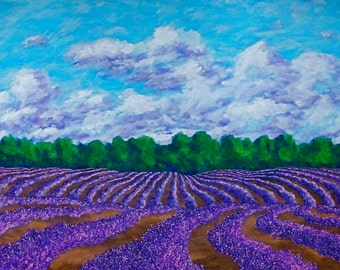 "Lavender Farm In Provence (ORIGINAL ACRYLIC PAINTING) 24"" x 48"" by Mike Kraus"