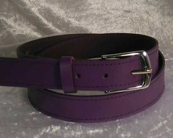 Purple leather belt with 30mm nickel buckle Made to Order