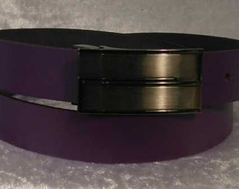 Purple leather belt with choice of buckle Made to Order