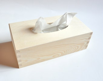Wooden Tissue Box. Unfinished Wood Box. Handkerchief Box. Decoupage Box. Home Decor #214