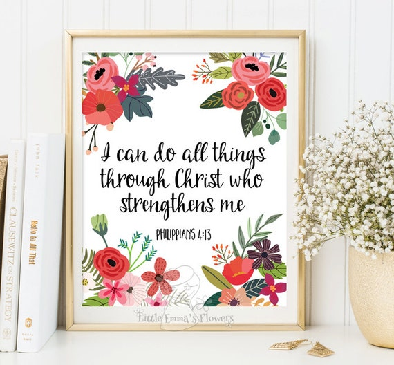 Christian Home Decorations: Bible Verse Print Christian Home Decor I Can Do All Things