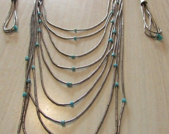 10 Strand Liquid Silver and Turquosie Waterfall Necklace