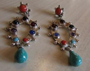 Sterling Silver Multi Stone Dangle Post Earrings