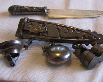 Really Cool 900 Silver Pin with Knife, Sheath, and Camping Charms