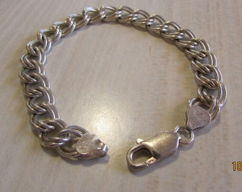 """Sterling Silver Italy Charm Bracelet Chain 7 1/4"""" Long"""