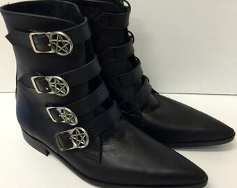 4 Strap Pentagram Buckle Winklepicker Boots in Black Leather