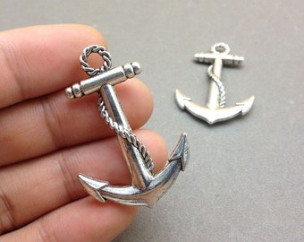 10 Pcs Anchor Charms Antique Silver Anchor Charm Nautical Charm Sailor Charm Pirate Vintage Style Pendant Charm Jewelry Supplies 30x45mm