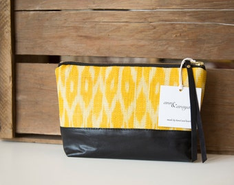 SALE! Liz Clutch - Handwoven ikat & leather clutch in yellow, red or black