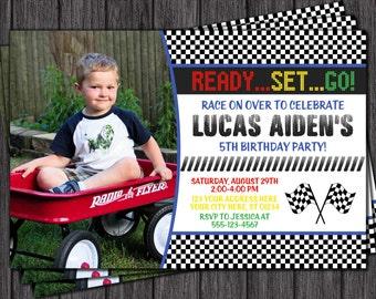 Race Car Birthday Invitation - Racing Birthday Party Invitations
