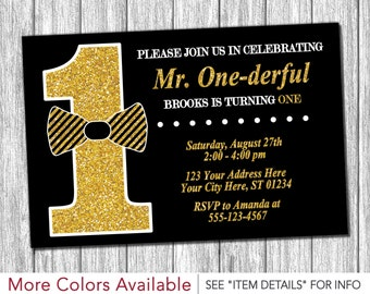 Mr. ONEderful Birthday Invitation - Mr One-derful Tuxedo Birthday Invitations - Black and Gold First Birthday Invite