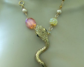 New fashion necklace with snake and crystals and semiprecious stones