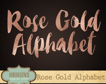 CLIP ART Rose Gold Foil Alphabet - Rose Gold Letters Clip Art, Glitter Letters, PNG Clipart digital download, commercial use, not a font