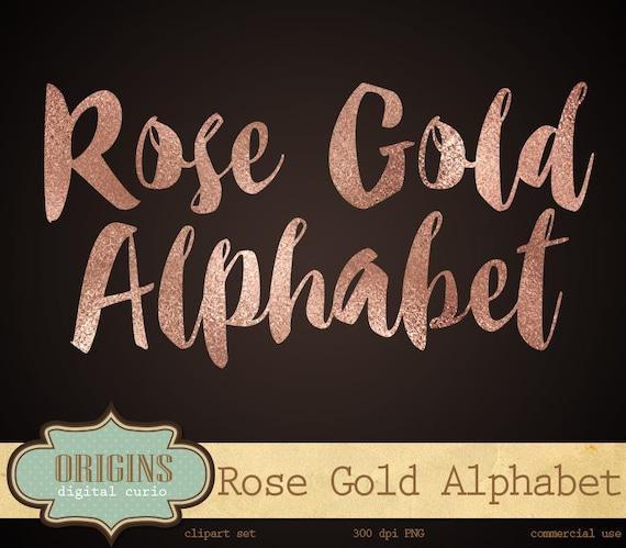 Clip Art Rose Gold Foil Alphabet Rose Gold Letters Clip Art