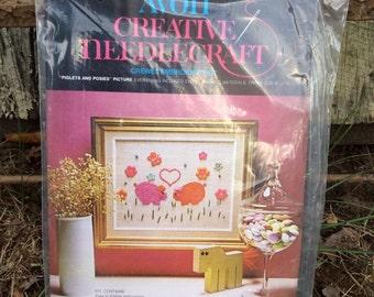 Vintage Avon Creative Needlecraft Kit, Crewel Kit, Embroidery Kit, Piglets and Posies, Pig, Pigs, Piggies Vintage Embroidery Kit, 1973