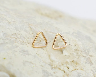 Triangle Outline Stud Earrings - Available in Solid Sterling Silver (92.5) or 14K Gold Filled