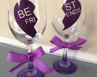 Best Friends Wine Glasses Set of 2 Purple
