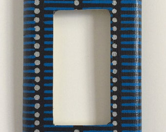 Black and Blue Rocker Switch Plate