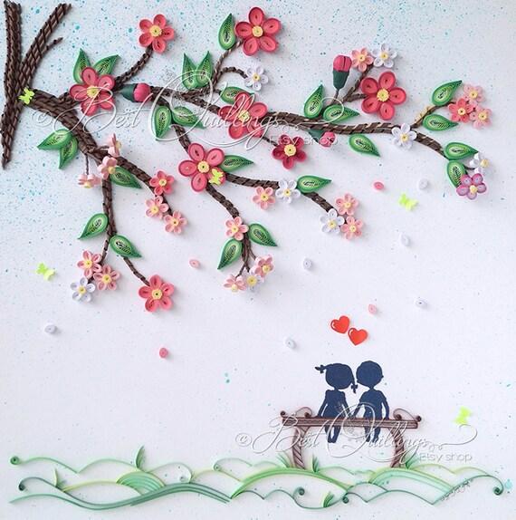 """Arte Quilling 3D Original y único: su historia de amor comenzó """"bajo el árbol de la suerte"""" papel colorido arte pared arte"""