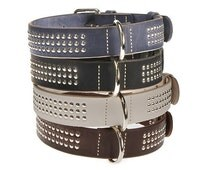 Dog Collar Leather Studded Black Blue Brown White Red 5 colors Size L XL XXL Flat Sturdy Plain Heavy Duty Durable Dog Pet Fashion Classic