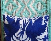Otomi Embroidered Cobalt Blue Pillow