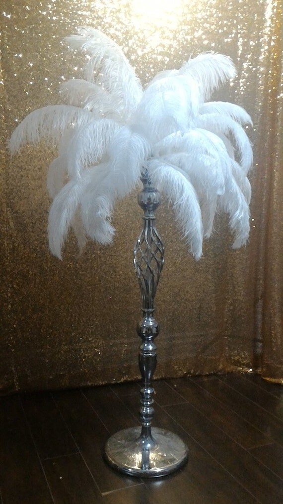 Ft tall silver metal ostrich feather centerpiece globe