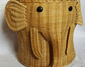 Vintage ELEPHANT WICKER basket