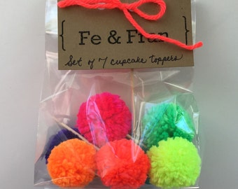 Pom Pom Cupcake Topper, Neon Pom Pom Cupcake Party Decor