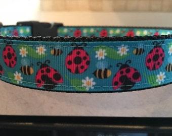 Ladybug and Bumblebee Large and Medium Dog Collar and optional matching leash