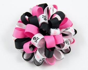 Hot Pink and Black Hair Bow, Skull and Crossbones Hair Bow, Pink Black Hair Bow, Halloween Loopy Bow (Item #10419)