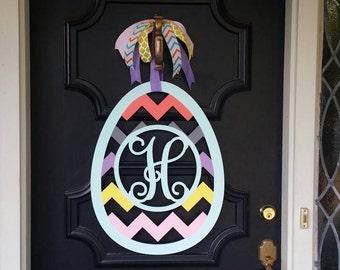 Easter Egg Monogram Spring Monogram Front Door Hanger Easter Egg Decor Chevron Easter Egg Spring Door Hanger Easter Monogram Chevron Egg