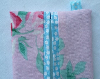 Fabric pocket tissue pouch, handbag tissue cover, travel tissue holder, pretty in pink