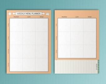 Menu Planner A5 Filofax Inserts Meal Printable A5 Menu Inserts A5 Menu Plan Shopping List A5 Inserts Grocery List A5.  PDF