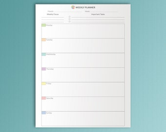 Weekly PLanner Letter Size 8.5x11 Dateless Printable PDF Vertical Weekly Organizer Calendar Weekly Agenda Weekly Tasks. Instant Download