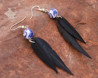 Faux Feather Earrings | Recycled Bike Tire Tubes | Porcelain Beads