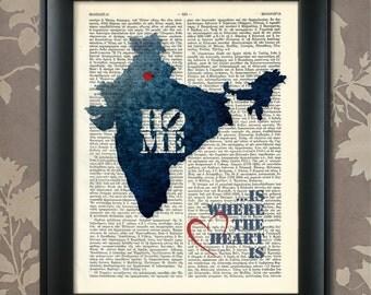 India Art Print, India Print, India Map Art, India Wall Art, India Pride, India Map Print, India Map, India Decor, India Gift, Map of India