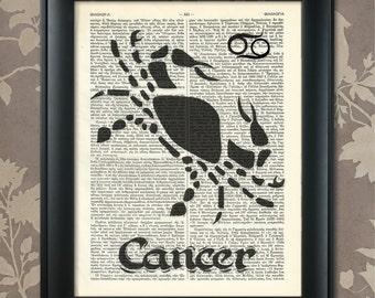 Cancer Zodiac Print, Cancer Zodiac Poster, Cancer Print, Cancer art, Cancer wall art, Cancer Gift, Cancer Present, Cancer Birthday Gift