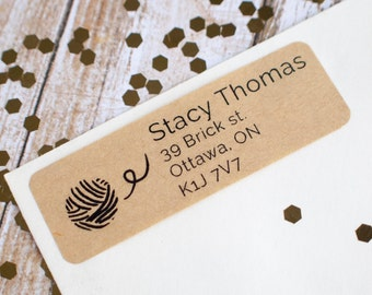 Knitting wool return address label sticker brown kraft